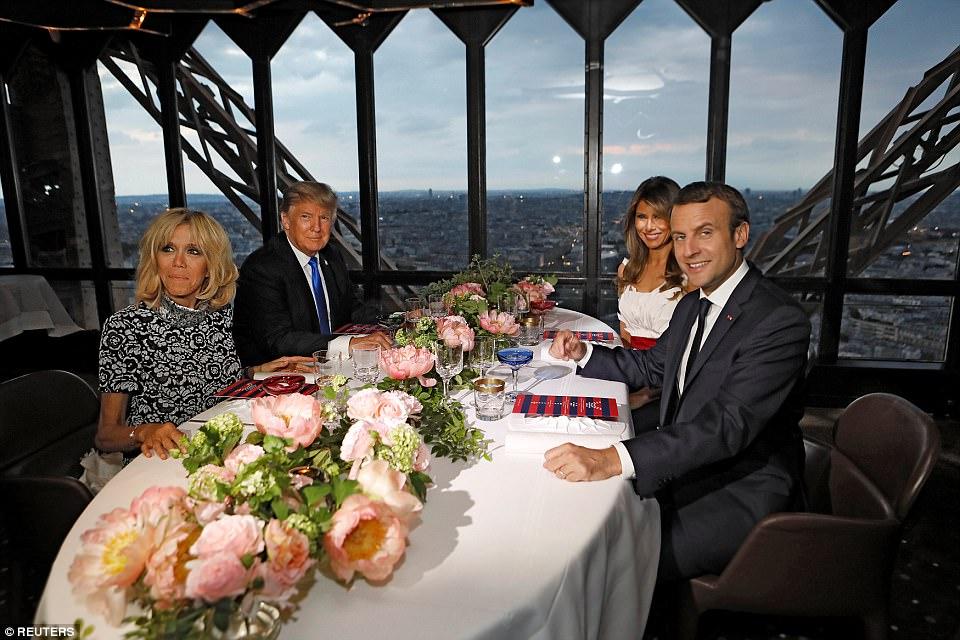 trump macron dinner